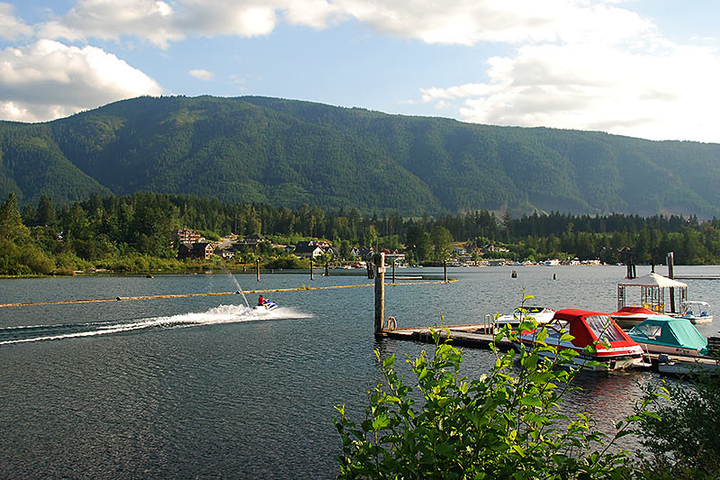 Cowichan Lake viewed from Marine Park, Lake Cowichan, Vancouver Island, British Columbia