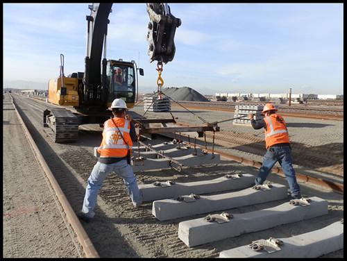 Photo of rail tie installation