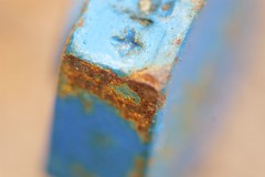 Rusted Blue Hex Bolt Head 2