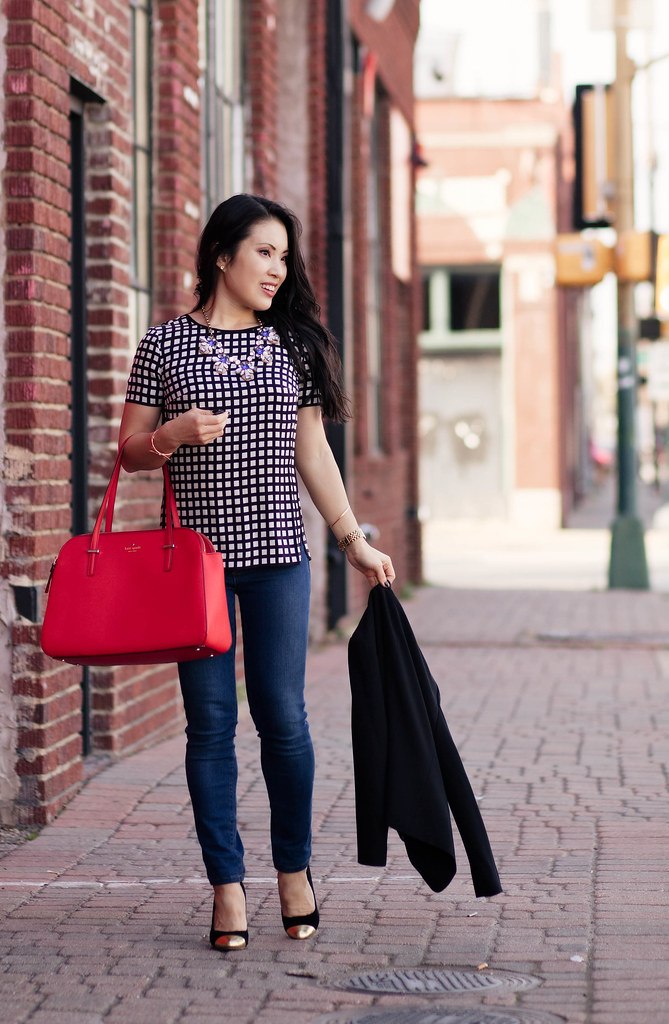 cute & little blog | pop of red | black blazer, windowpane silk top, kate spade cedar street elissa red purse outfit