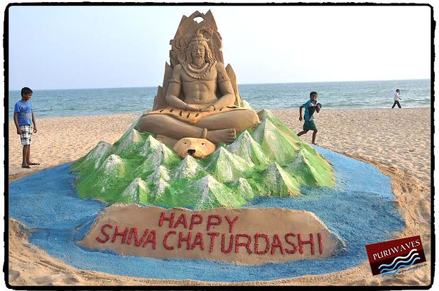 Mr. Manas Kumar Sahoo has Prepared Lord Shiva at Puri Beach