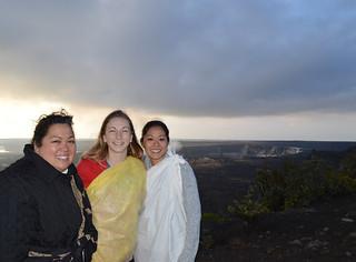 Kanani, Alexa, Jules under the transforming clouds and dramatic sunrise at Halema'uma'u crater