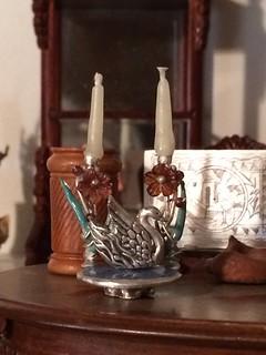 Baroque center piece,in fine silver, enamel,and garnet