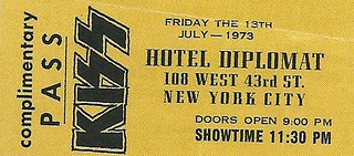 07/13/73 Kiss / Brats/ Planets @ Hotel Diplomat, NYC, NY (Kiss Issued Comp. Pass)