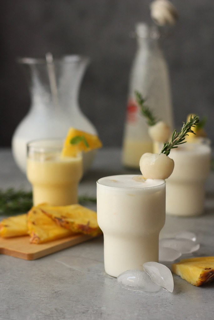 Lychee-Ginger Lassi and Pineapple Lassi