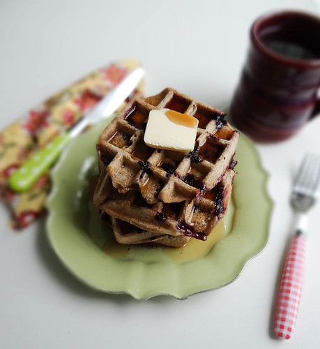 blueberry cinnamon sourdough waffles