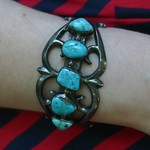 silver and turquoise bracelet from tag sale in Roslyn