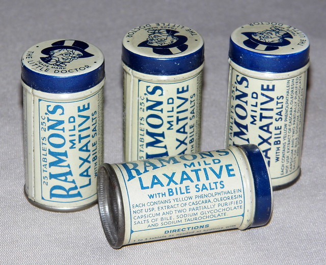"Vintage Tins of Ramon's Mild Laxative Pills, Trade Mark - ""The Little Doctor"", NOS from Flickr via Wylio"