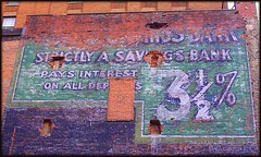 Wall Sign: Bank Offering 3 1/2% Interest--Detroit MI