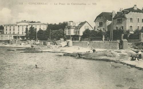 Plage et hôtel de Cornouailles
