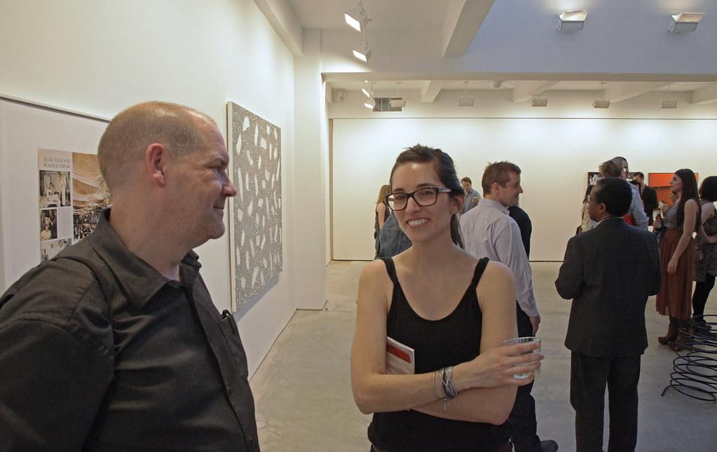 Department of art assistant professor and director of graduate studies, Carl Ostendarp with Gabriela Jimenez (M.F.A. '11 ).