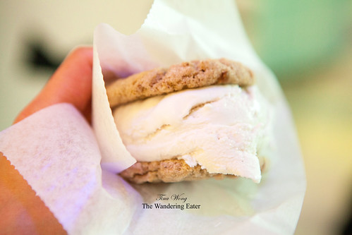 Coconut chai ice cream with chai snickerdoodle cookies ice cream sandwich