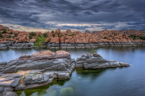 sunset arizona usa color tree nature water landscape nikon rocks day desert cloudy le nd vegetation geology prescott watsonlake americansouthwest