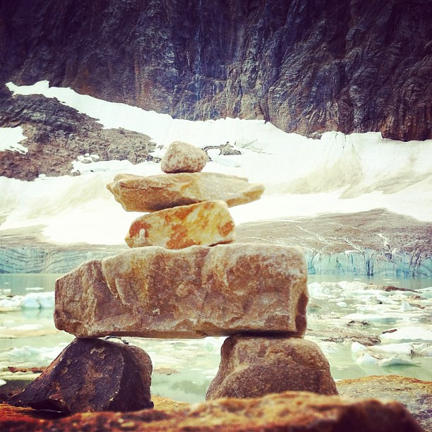 Inukshuk at Angel Glacier pond. There were heaps of them but this one was tiny and perfect. #inukshuk #angelglacier #mtedithcavell #jasper #glacier #canada #rocks