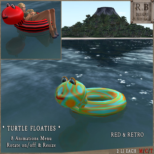 RnB Turtle Floaties - 8 Animations & Rotation - Red & Retro (np)