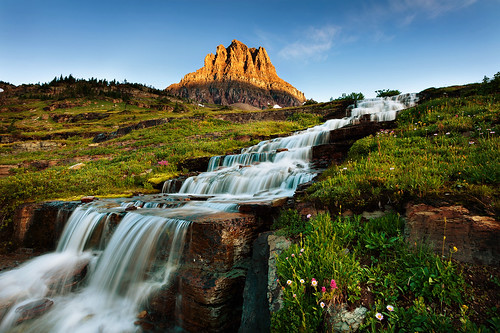 Sunrise at Water stairs in Glacier National Park