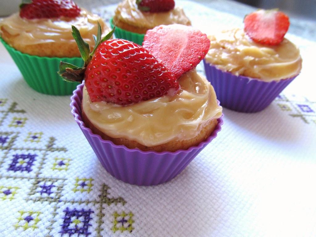 cupcake de iogurte e morango