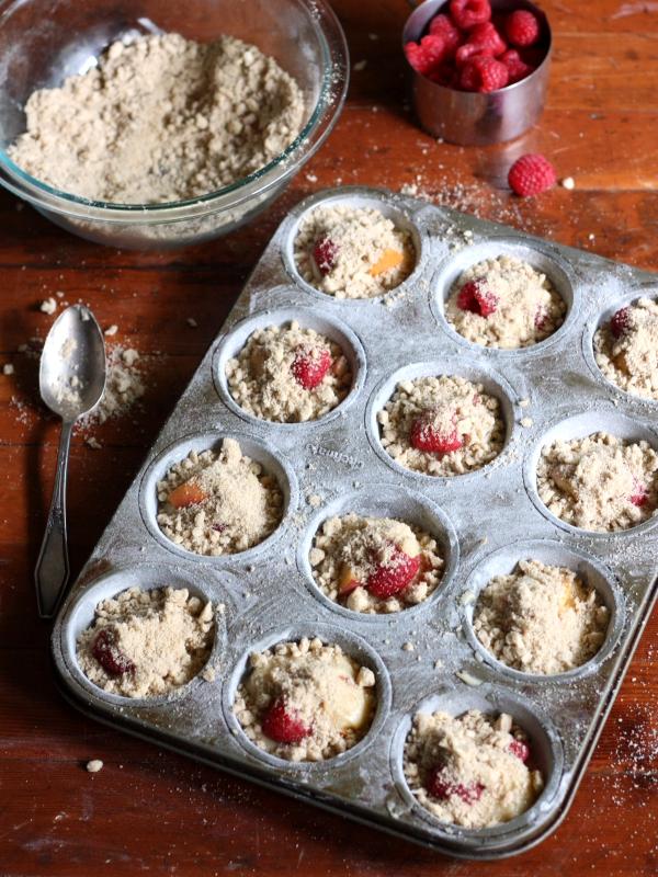 Raspberry Peach Muffins