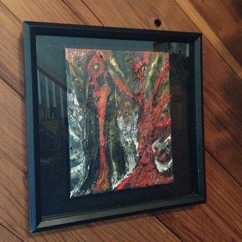 I'm using this piece of original art as color inspiration for our family room. Deep red, black, tan and blue.