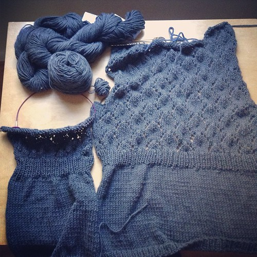 My last old knitting WIP. I started this in 2008!! It is a Hey, Teach! cardigan in Berroco Inca Gold.