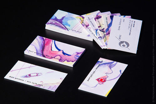 Высокая печать и акварель - визитка