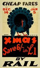 New Zealand Railway poster - Cheap Fares By Rail Xmas1929