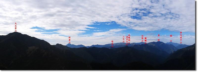 南二段群峰(From 八通關山) 2