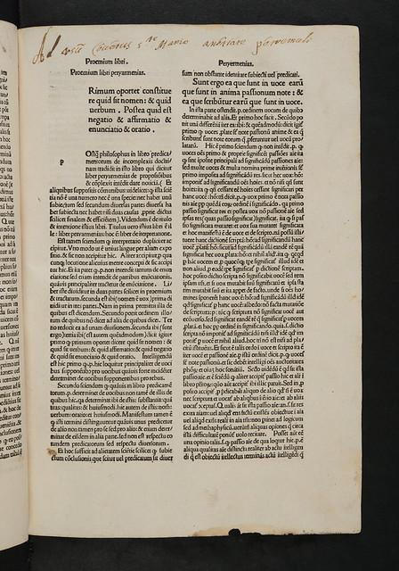 Monastic ownership inscription in  Ockam, Guilielmus: Expositio aurea super totam artem veterem Aristotelis