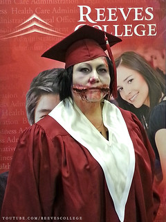 Reeves College Lloydminster Campus Students, Staff and Faculty in Halloween Costumes - Rhonda Campus Director
