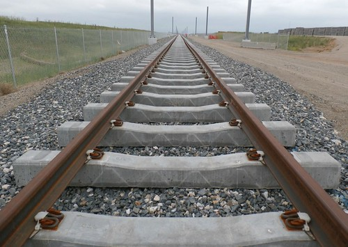 Photo of track installation at 56th Avenue on East Rail Line