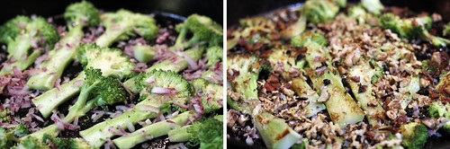 Roasted Broccoli Steaks with walnuts red onion currants