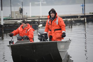 LECLAIRE, IOWA - U.S. Fish and Wildlife Service personnel, Ron Knopik, Assistant Refuge Manager at Port Lousia National Wildlife Refuge and Ed Britton, Refuge Manager Savannah District, Upper Mississippi River National Wildlife and Fish Refuge, perform shoreline assessment and wildlife reconaissance, south of LeClaire, Iowa, Dec. 3, 2013.  As a part of the Unified Command for the Stephen L. Colby Response, the U.S. Fish and Wildlife Service is working closely with the community to reduce impacts on the environment and wildlife.  U.S. Coast Guard photo by Petty Officer 1st Class Mariana O'Leary.