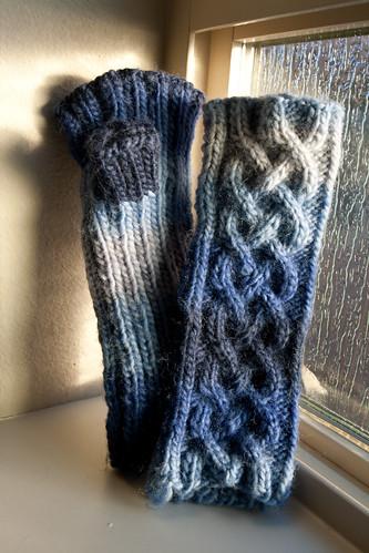 John's blue gloves
