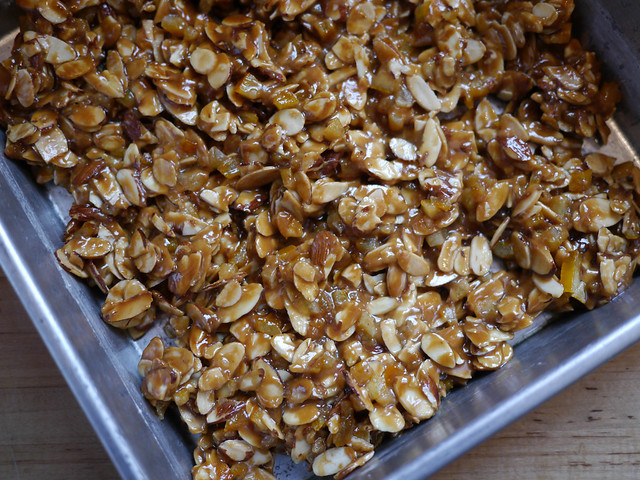 Florentines - Nut, syrup, and peel mixture
