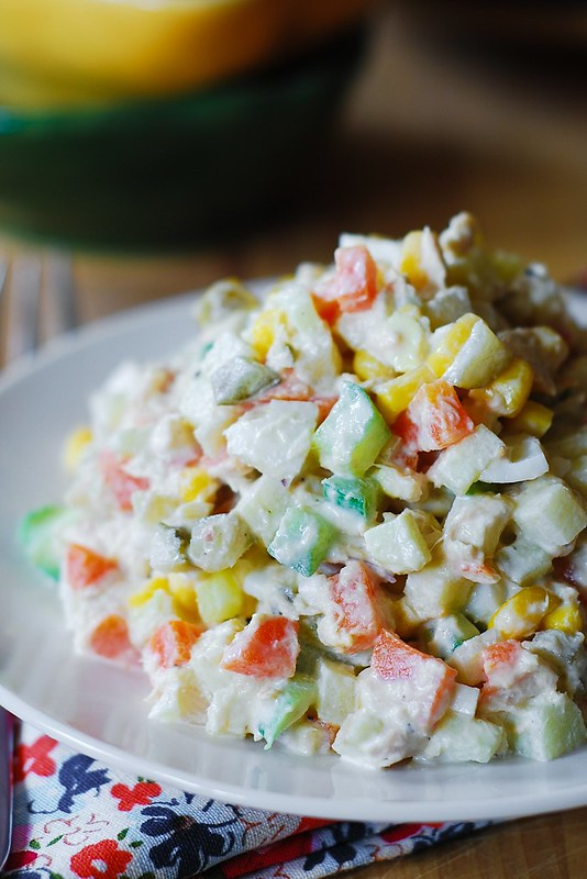 Potato salad with tuna - Olivier Salad, olivie salad, Russian food, Russian recipes, Russian food blog