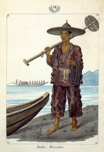 010-Indio Pescador-Vistas de las Yslas Filipinas y Trages…1847-J.H. Lozano- Biblioteca Digital Hispánica