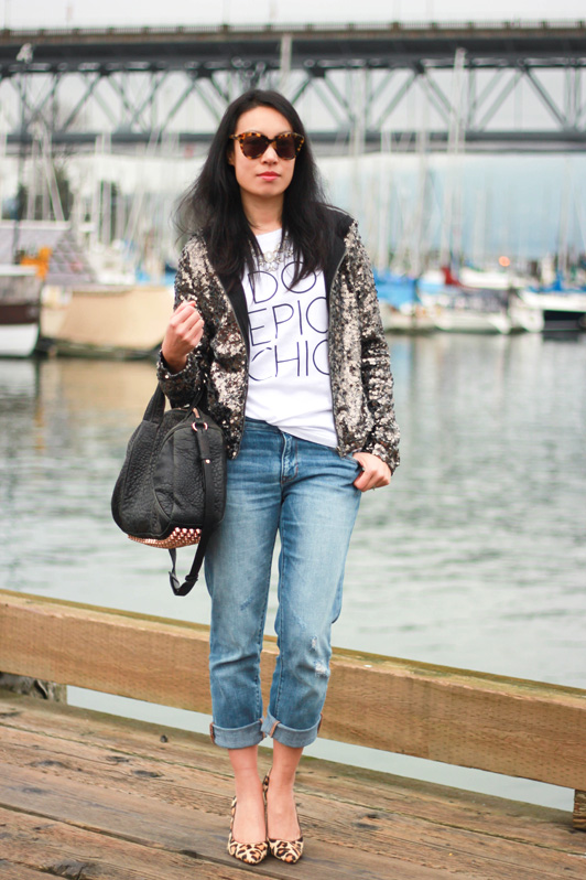 Song of Style for eLuxe Do Epic Chic t-shirt, Forever 21 sequinned hoodie, Gap distressed sexy boyfriend jeans, leopard Michael Kors pumps, Alexander Wang rose gold Rocco bag, Karen Walker Number One sunglasses, J. Crew statement necklace, fashion, style, Vancouver fashion blogger