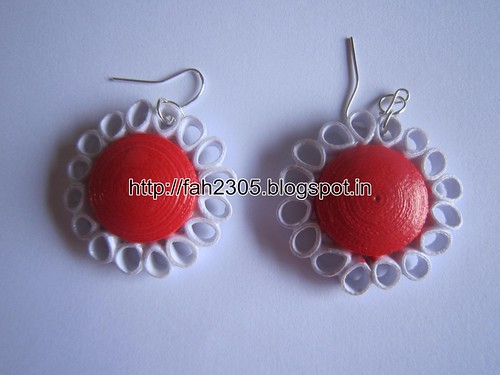 Handmade Jewelry - Paper Quilling Dome Flower  Earrings (2) by fah2305