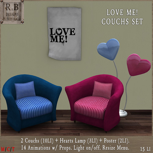 NEW GIFT *RnB* LOVE ME Couchs Set - 14 Animations & Light on-off (np)