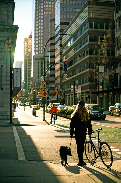 Vancouver Downtown Street on a Cold Sunny Day