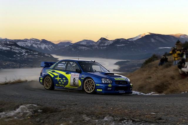 Subaru Impreza WRC2000 of Tommi Makinen at 2003 Rally Monte Carlo