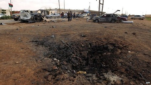 Benghazi car bomb explosion, March 17, 2014, where eight rebel soldiers were killed. by Pan-African News Wire File Photos