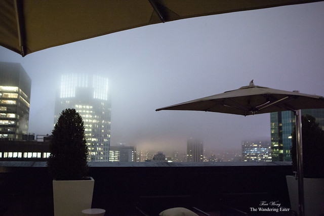Foggy and midnight view at the third floor terrace of Jewel Suite