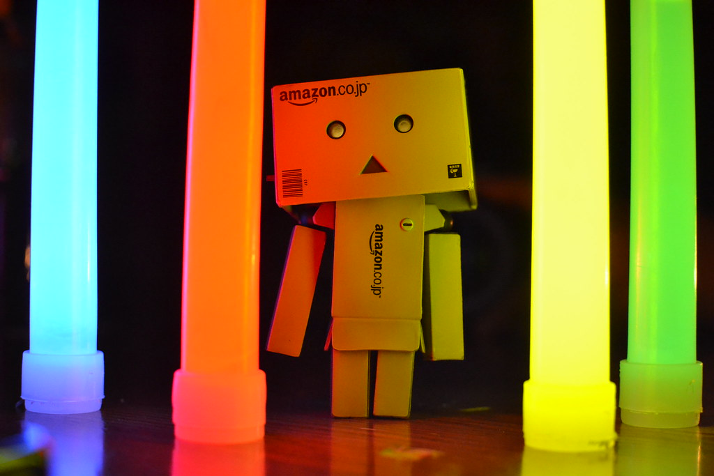 Danbo surrounded by glowsticks