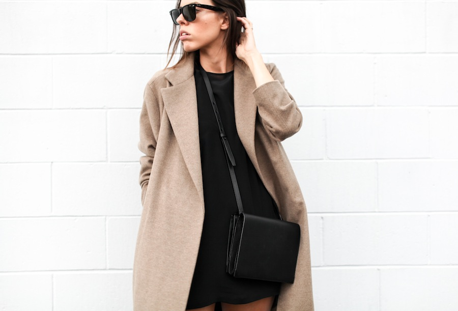 modern legacy blog camel long coat robe wool Zara slide sandals pool Alexander Wang Prisma Envelope cross body bag silk shift dress Nicholas black outfit street style blogger Australia (2 of 8)
