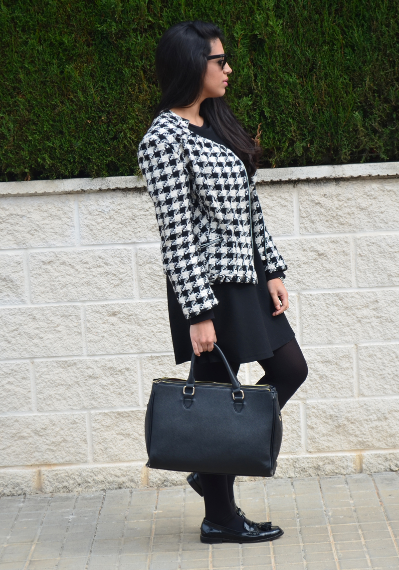 florenciablog tweedjacket estampado pata de gallo little black dress LBD mocasines zara (4)
