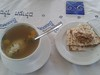 Lunch during Passover -Chicken soup with knaidlach - matzah ball soup and matzah with charoset  -mixture of apples, nuts, dates & wine