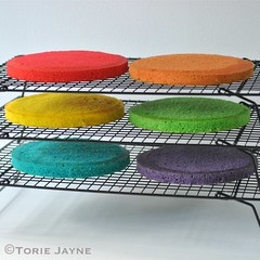 Gluten free ranbow cakes trimmed