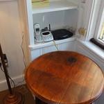 Wine barrel end table and internet hookups