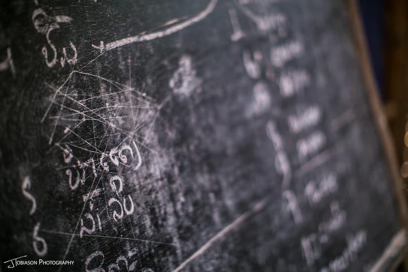 Blackboard with Laos text